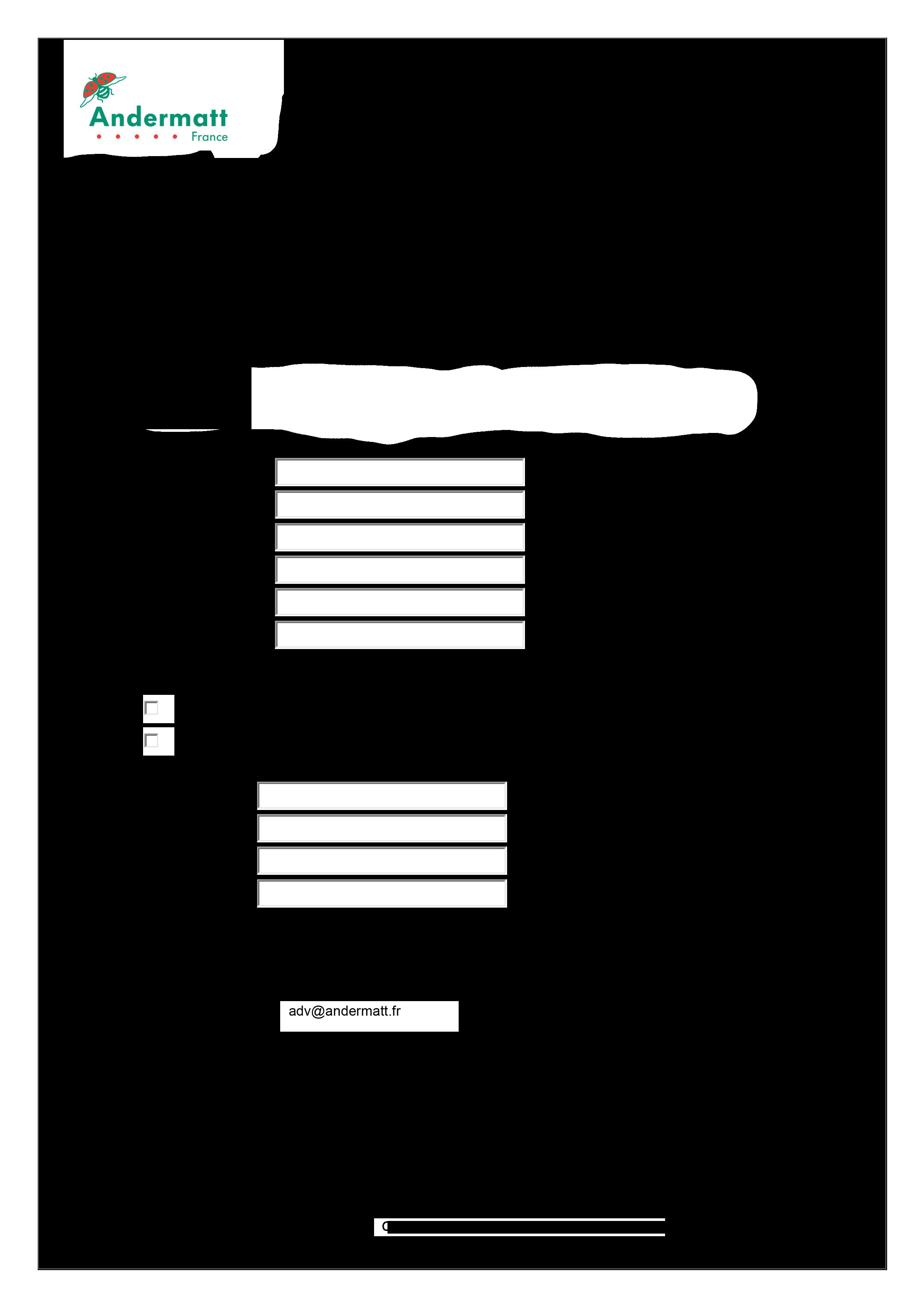 Andermatt France - formulaire de rétractation